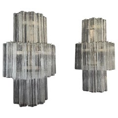 Fantastic Pair of Murano Glass Tube Wall Sconces, 18 Clear Glass Tube