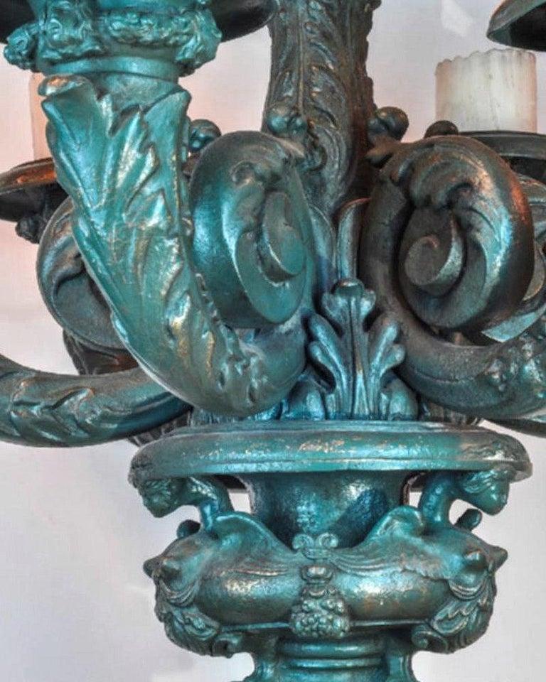 Pair Painted  Bronze Figural Seven Light Floor Torcheres For Sale 1