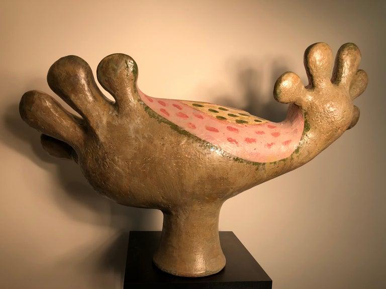 Fantastic Pink Bird of Paradise Sculpture by Master Designer Eva Fritz-Lindnert For Sale 2