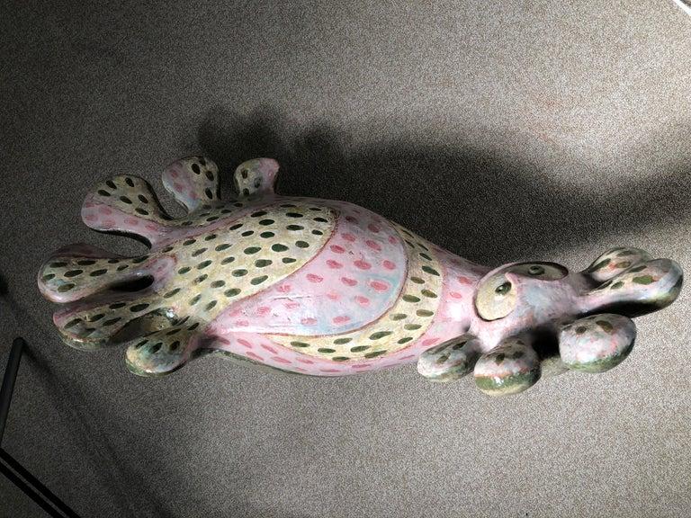 Fantastic Pink Bird of Paradise Sculpture by Master Designer Eva Fritz-Lindnert For Sale 7