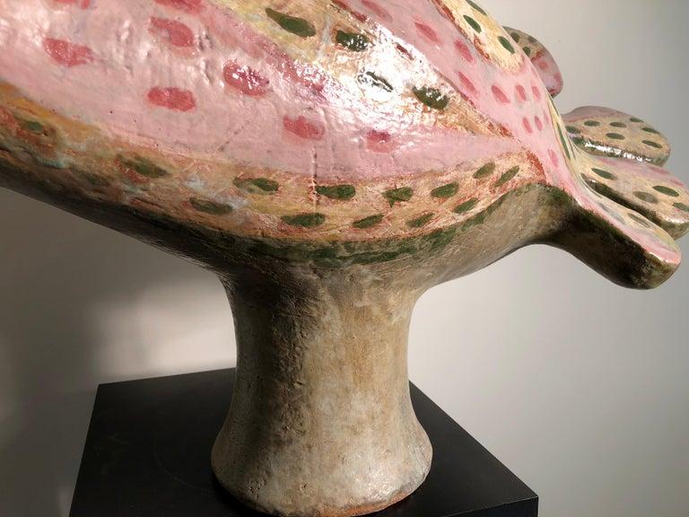 Fantastic Pink Bird of Paradise Sculpture by Master Designer Eva Fritz-Lindnert For Sale 1