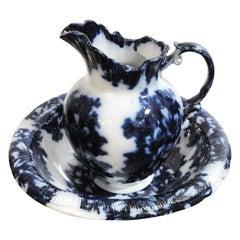 Fantastic Rare 19th Century Flo-Blue Washbowl and Pitcher Set