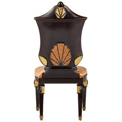 Fantastic Rococo' Chair Carved Solid Wood Tiny Mosaic Decoration