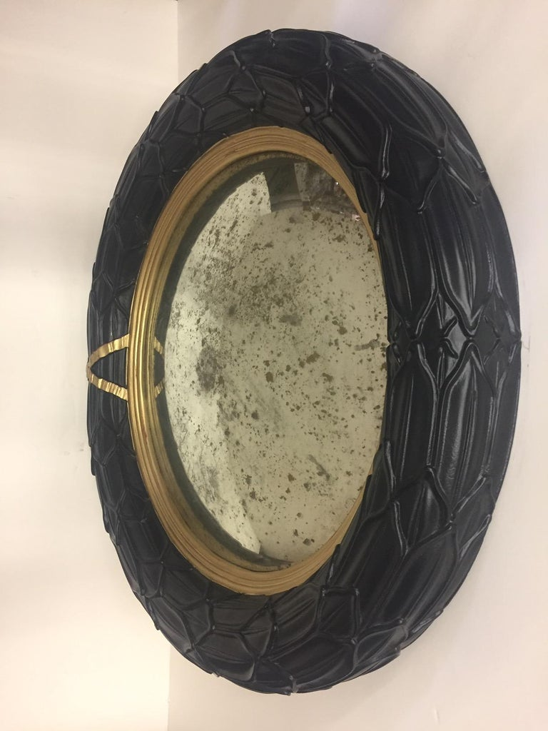Late 20th Century Fantastic Round Ebonized and Gilt Convex Mirror For Sale