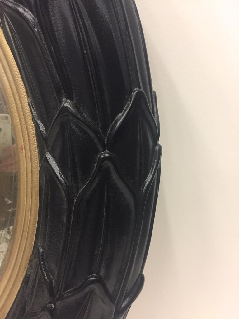 Resin Fantastic Round Ebonized and Gilt Convex Mirror For Sale