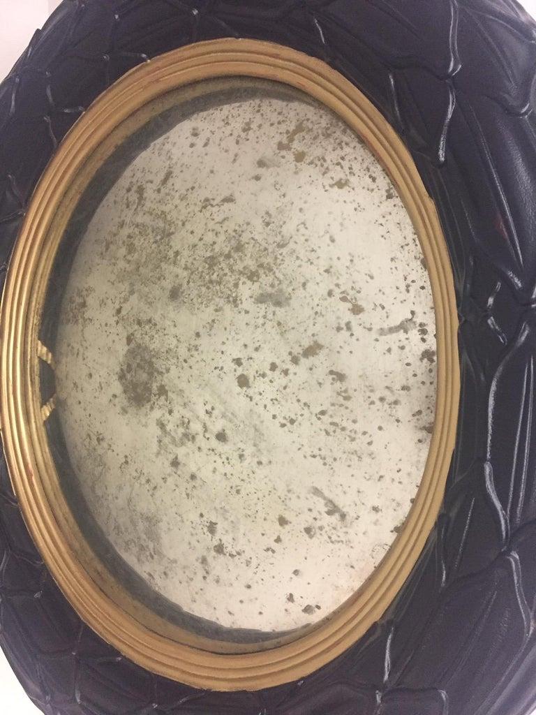 Fantastic Round Ebonized and Gilt Convex Mirror For Sale 1
