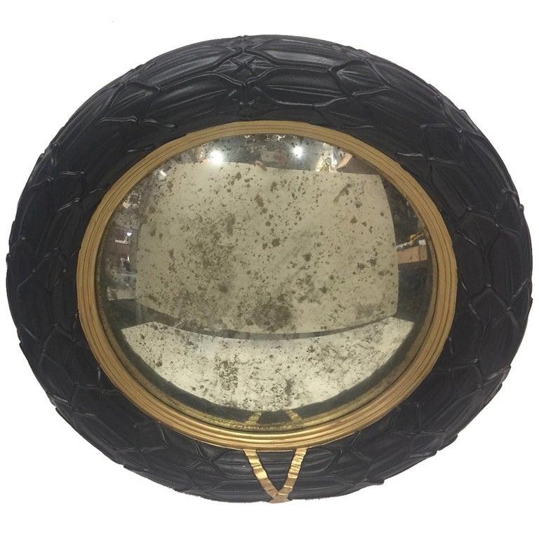 Fantastic Round Ebonized and Gilt Convex Mirror For Sale