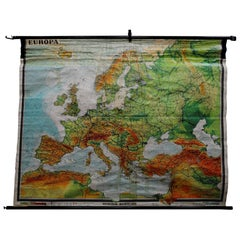 Fantastic School Map Physical View of Europe Wall Chart Poster Print Decoration