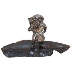 Fantastic Sculpture in Silver and 1970s Gnome Stone Italian Design