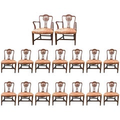 Fantastic Set of 16 Late 19th Century Carved Hepplewhite Dining Chairs