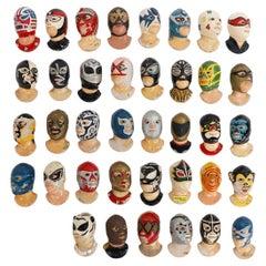 Fantastic Set of 38 Vintage Mexican Wrestling Fighters Heads