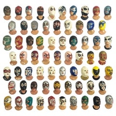 Fantastic Set of 67 Vintage Mexican Wrestling Fighters Heads