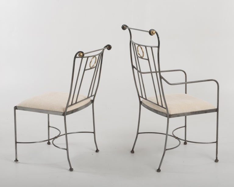Fantastic Set of 8 Steel and Brass Italian Dining Chairs For Sale 5