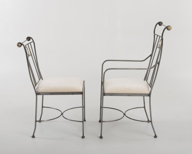 Mid-Century Modern Fantastic Set of 8 Steel and Brass Italian Dining Chairs For Sale