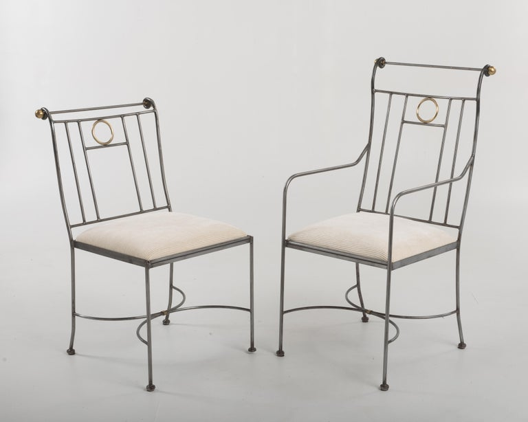 Fantastic Set of 8 Steel and Brass Italian Dining Chairs In Good Condition For Sale In Hopewell, NJ