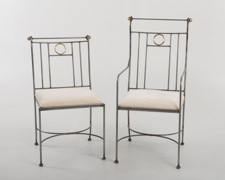 Late 20th Century Fantastic Set of 8 Steel and Brass Italian Dining Chairs For Sale