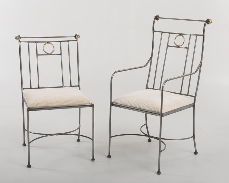 Fantastic Set of 8 Steel and Brass Italian Dining Chairs For Sale 1