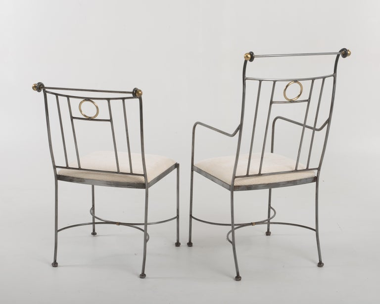 Fantastic Set of 8 Steel and Brass Italian Dining Chairs For Sale 4