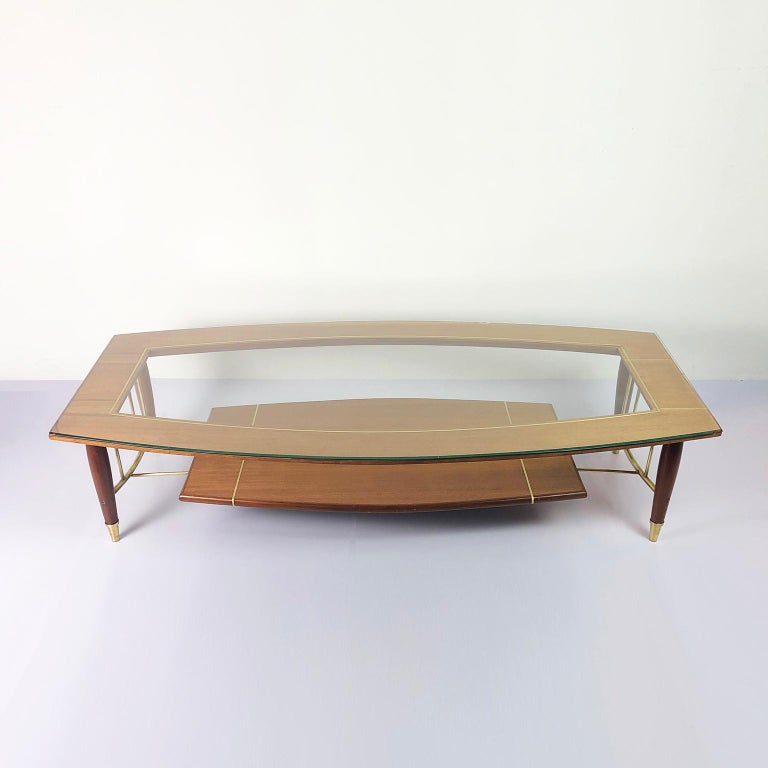We offer these tables in mahogany wood and brass accents designed by Frank Kyle, circa 1970.