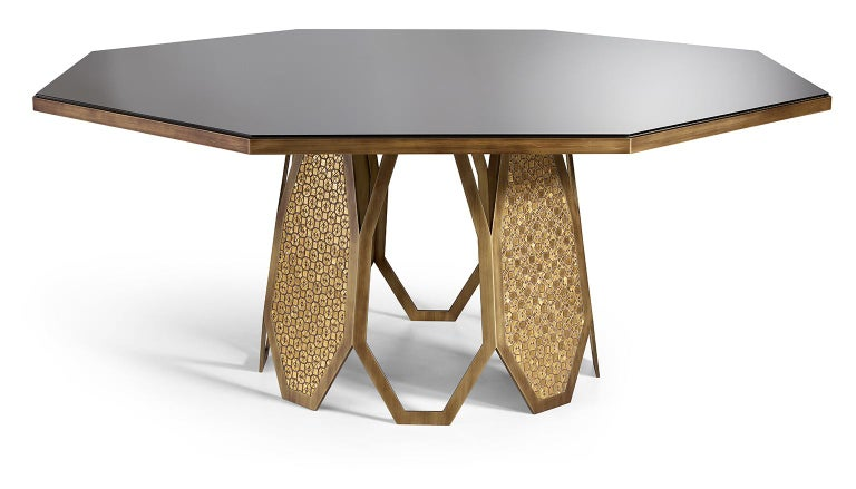 Italian Fantastic Table Base in Stainless Steel Antique Bronze and Silver Finish Mosaic For Sale