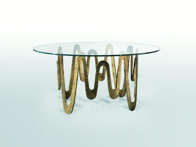 Italian Fantastic Table with Hammered Base, Bronze or Silver Finish Glass Top For Sale