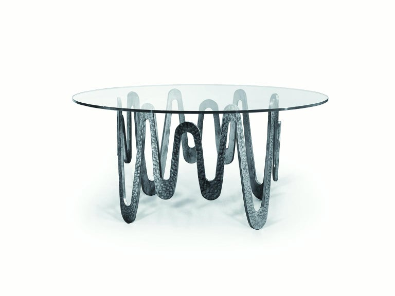 Other Fantastic Table with Hammered Base, Bronze or Silver Finish Glass Top For Sale
