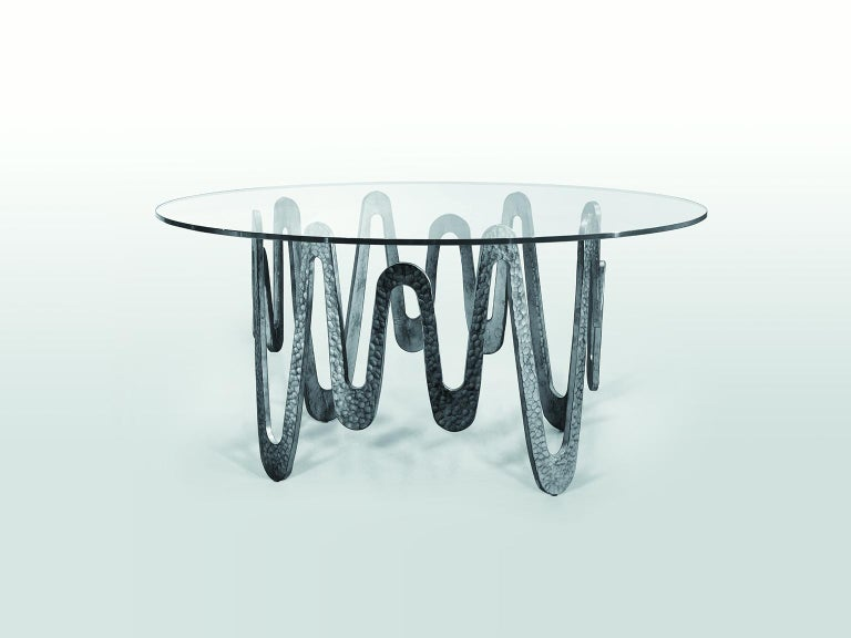 Metal Fantastic Table with Hammered Base, Bronze or Silver Finish Glass Top For Sale