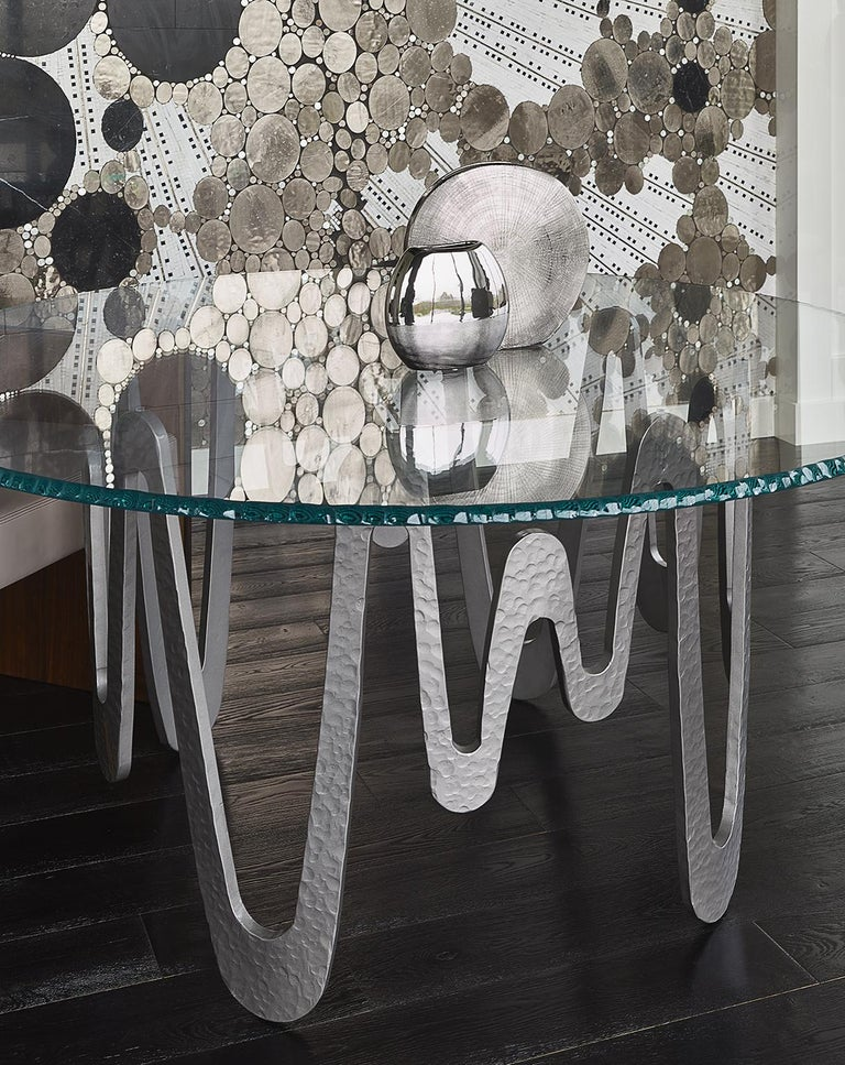 Fantastic Table with Hammered Base, Bronze or Silver Finish Glass Top For Sale 1