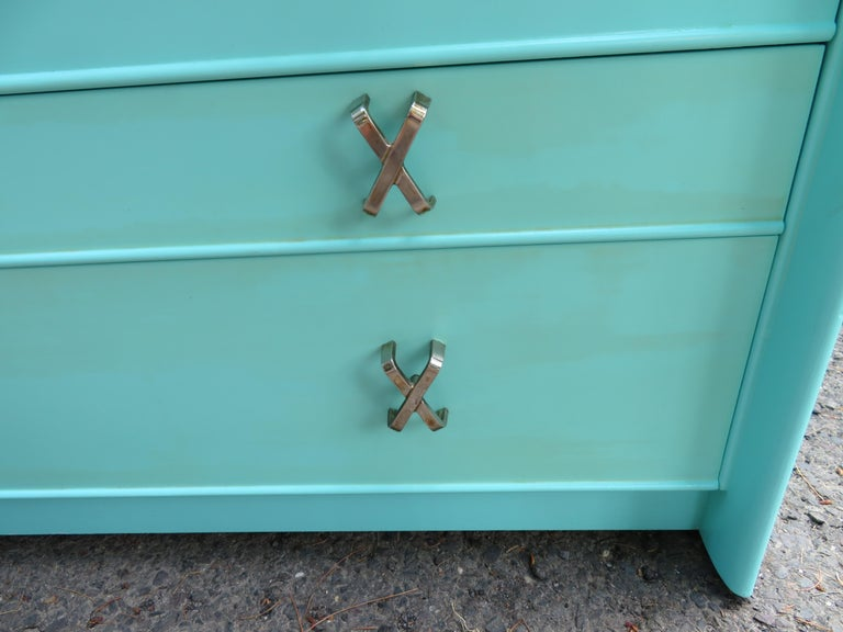 Fantastic Tiffany Blue Paul Frankl X-Pull Dresser Credenza Mid-Century Modern For Sale 7