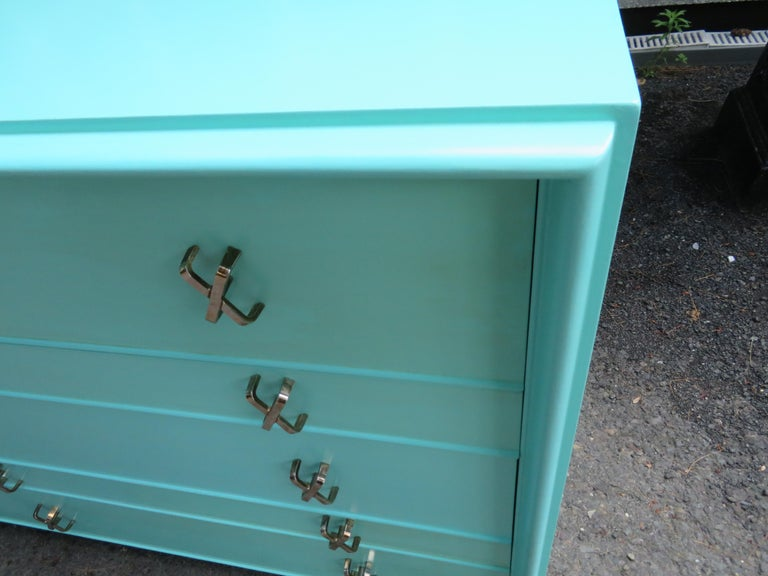 Fantastic Tiffany Blue Paul Frankl X-Pull Dresser Credenza Mid-Century Modern For Sale 8