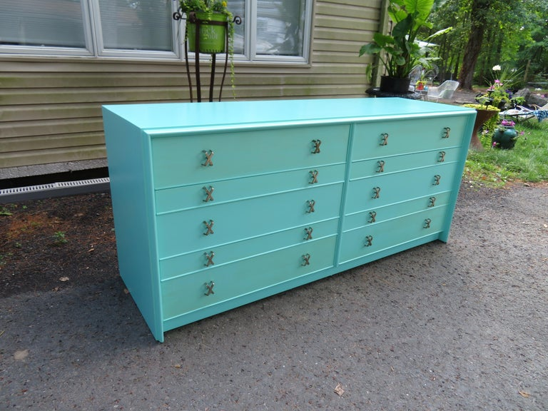 Fantastic Tiffany Blue Paul Frankl X-Pull Dresser Credenza Mid-Century Modern For Sale 9