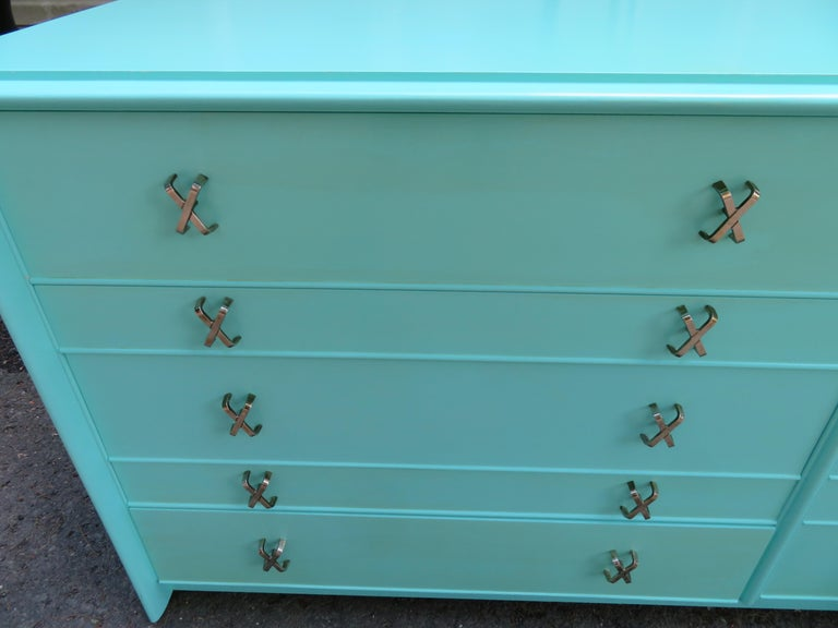 Painted Fantastic Tiffany Blue Paul Frankl X-Pull Dresser Credenza Mid-Century Modern For Sale