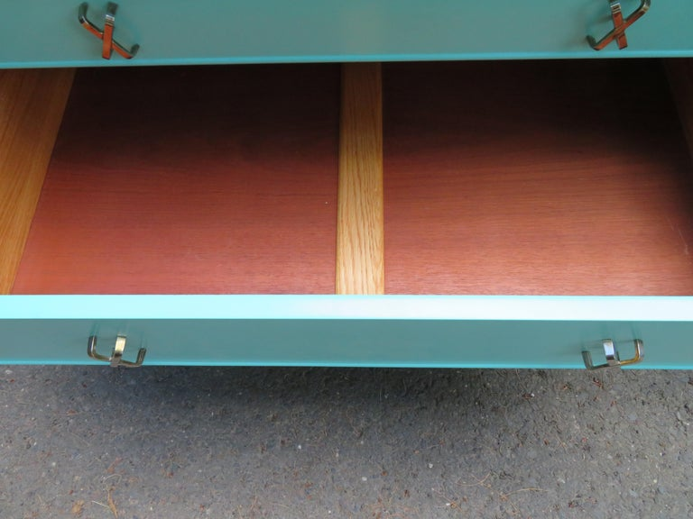 Fantastic Tiffany Blue Paul Frankl X-Pull Dresser Credenza Mid-Century Modern For Sale 1