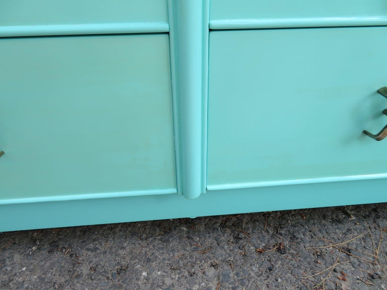 Fantastic Tiffany Blue Paul Frankl X-Pull Dresser Credenza Mid-Century Modern For Sale 2