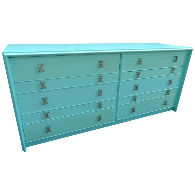 Fantastic Tiffany Blue Paul Frankl X-Pull Dresser Credenza Mid-Century Modern For Sale