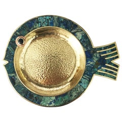 Fantastic Turquoise Dish in Fish Form by Los Castillo