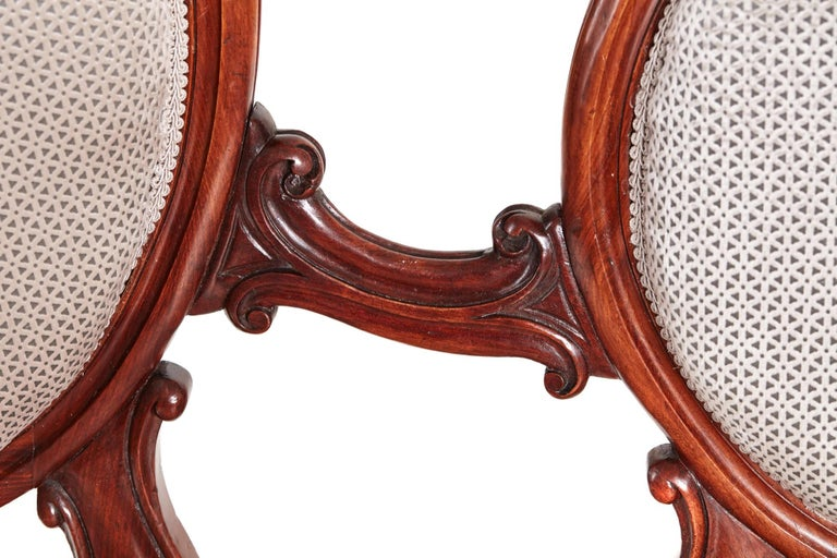 19th Century Fantastic Victorian Carved Walnut Cameo Back Settee For Sale