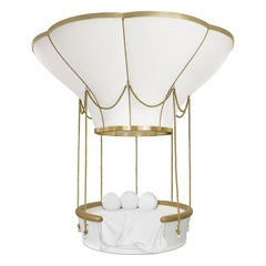 Fantasy Air Balloon Bed In White Wood with Side Drawers and Gold Details