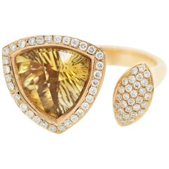 "Fantasy-Cut Citrine Diamond Gold ""Twin"" Ring"