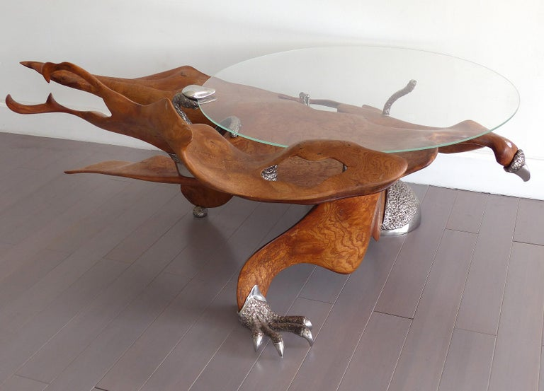 Fantasy Furniture Burl And Chrome Studio Coffee Table