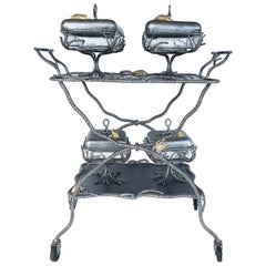 Fantasy Studio Pewter Serving Cart with Frog Covered Serving Dishes Set