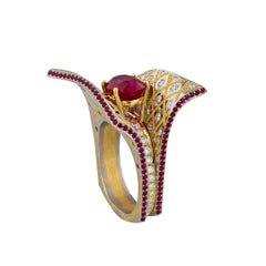 Fantasy Style Ruby Platinum Ring by Zoltan David