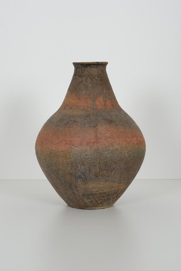 Fantoni blub shaped vase, with layered glazes. Signed underside Fantoni Italywith layered glazes. Signed underside Fantoni Italy.