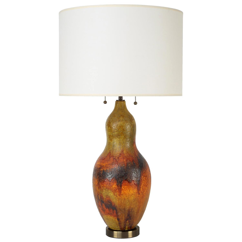 Fantoni Ceramic Table Lamp with Volcanic Glaze, 1960s