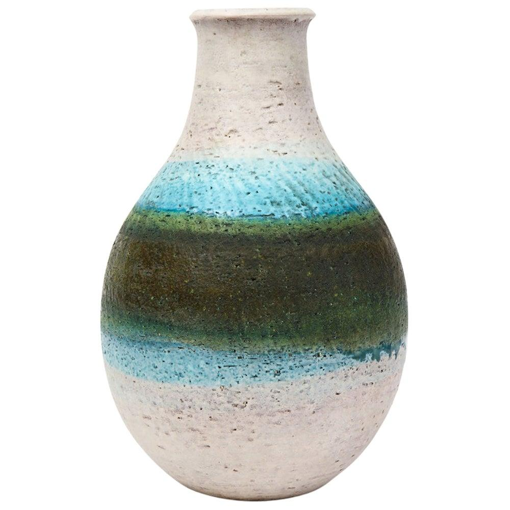 Fantoni for Raymor Vase, Ceramic, White, Blue, Green, Signed
