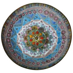 Fantoni Style Salt Glaze Blue, Purple Ceramic Bowl Mid-Century Modern Italian