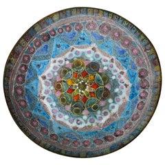 Fantoni Style Salt Glaze Blue, Purple Ceramic Bowl Mid-Century Modern, Italian