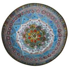 Fantoni Style Salt Glaze Ceramic Bowl Vintage Italian Mid-Century Modern