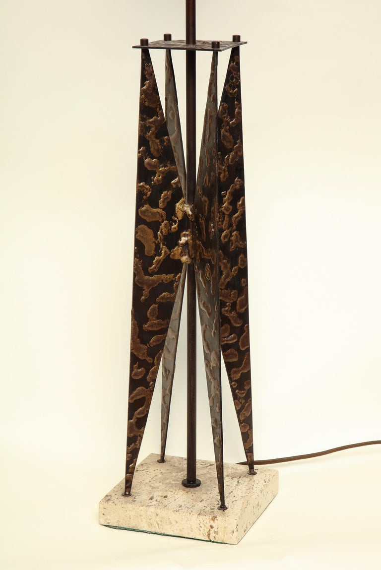 Fantoni Table Lamp Mid-Century Modern Sculptural Form Crafted of Patinated Iron In Good Condition For Sale In New York, NY