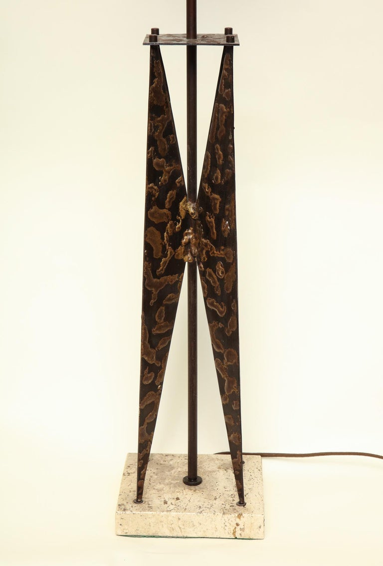 Copper Fantoni Table Lamp Mid-Century Modern Sculptural Form Crafted of Patinated Iron For Sale